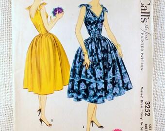 Vintage Pattern Simplicity 3252 Sewing pattern 1950s full skirt dress Bust 30 Rockabilly V neck Tie shoulders party rockabilly