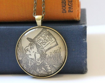 Mad Hatter book page necklace - Alice in Wonderland jewelry - Lewis Carroll - book club gift idea - literary jewelry - teacher gift