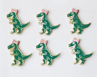 Rawr! Lady T-rex Dinosaur Pin