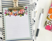 Mini clipboard with to-do list // STRIPY geometric & floral design // fabric covered clipboard