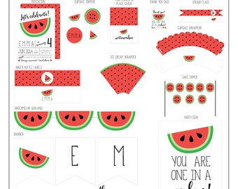 Watermelon Birthday Collection - Watermelon Party Package - Printable Party Collection // WAT -01