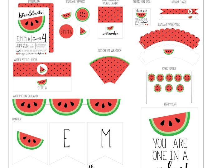 Featured listing image: Watermelon Birthday Collection - Watermelon Party Package - Printable Party Collection // WAT -01