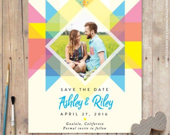 Save the date magnet, save the date magnet beach, colorful save the date postcard, magnet save the date save the date cheap - 1704