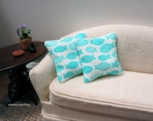 Tropical Blue Fish pillows - set of two - dollhouse miniature