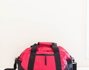 L.L.BEAN red and black vinyl duffel weekender bag - overnight gym bag
