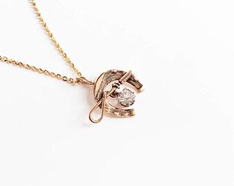 Antique Victorian 14 Karat Gold Horseshoe Diamond Paste Necklace Riding Crop Horse Conversion Pendant Good Luck Rose Gold Vintage