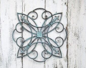 Wrought Iron Fleur De Lis Wall Hanging // Fleur De Lis Decor //Metal
