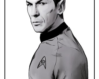 Mister Spock Portrait Art Poster - Artwork inspired by Leonard Nimoy - Black and White Portrait Series