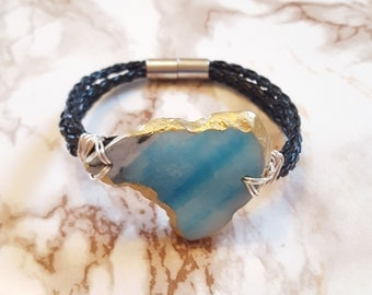 Blue Agate with 18 KT Gold Leafing