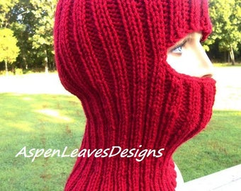 Cranberry red balaclava, ski mask, adults red, full face coverage, Winter hat