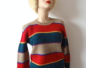 1980s Striped Wool Sweater vintage crew neck pullover
