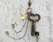Skeleton Key Pendant Hanging Hearts Charms Necklace Jewelry