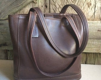 Coach Bag Brown Leather Bucket Bag Boston Satchel Tote