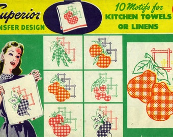 SUPERIOR TRANSFER PATTERN 167 Embroidery 1940's for Kitchen Towels Plaid / Gingham Fruits and Vegetables Hot Iron Transfers