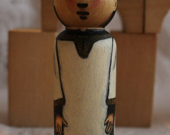 """Altar Server Peg Doll Eastern Rite watercolored large size 3.5"""""""