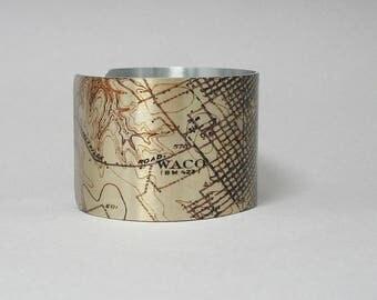 Waco Texas Cuff Bracelet Topographic Map Unique Gift for Men or Women