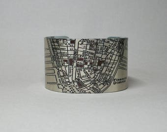 New York City NYC Manhattan Street Map Financial District Cuff Bracelet Unique Gift for Men or Women