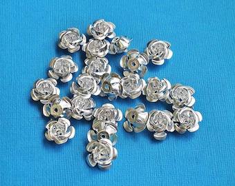 25 Flower Beads Silver Color Aluminum Metallic Roses 17mm x 9mm - K023