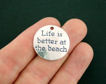 4 Beach Charms Antique Silver Tone Life is better at the beach - SC7040