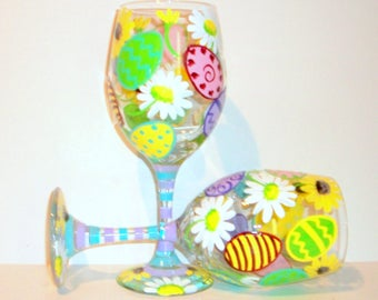 Easter Eggs and Daisies Hand Painted Wine Glasses Set of  2 - 20 oz. White Wine Glasses  Pastel Colors Blue Green Pink Lavender Lime Green