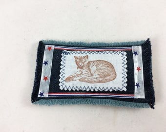 Lavender sleepy cat sachet, jeans cat sachet, cat pincushion