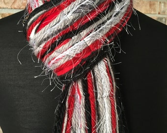 Alabama Crimson Tide Inspired Skinny Scrappy Scarf - Crimson, Gray, Black & White - Handmade