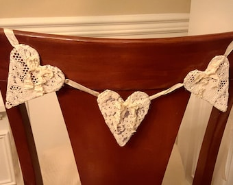triple heart lace garland bunting wedding decoration bride and grooms chair banner recycled farmhouse decor