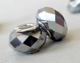 10 Metallic Silver Faceted European Large Hole Spacer Beads, Zinc Alloy, 14mm x 9mm diameter, 5mm hole, package of 10