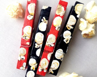 POPCORN CLOTHESPINS hand painted clothespin magnets chip clip movie party favor red and black
