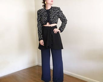 Vintage Cropped Victor Costa Jacket / Black and White / High Fashion