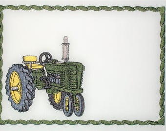 Farm Tractor embroidered quilt label to customize with your personal message