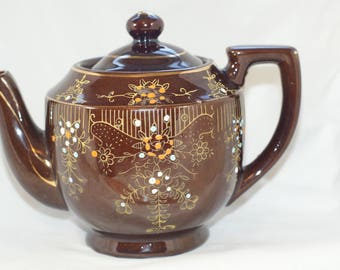 Dark Brown Redware teapot made in Japan decorated