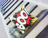 Boom, comic book, bang, inspired, comic, superhero, action, pow, cushion, pillow, cover only, boys room, bedroom