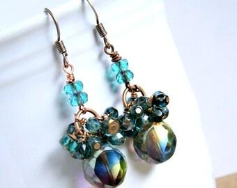 copper beaded drop earrings, beaded earrings, blue green, boho jewelry, gypsy jewelry, sparkle earrings