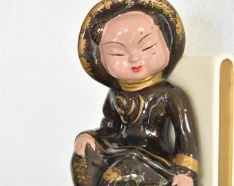 vintage ceramic chinese girl bookend
