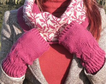 Botanic Buds Gloves , DK Knitting pattern ,  pdf download , instant pattern , knitting kit pre-book
