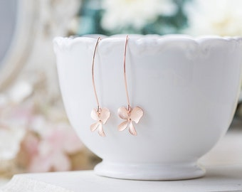 Rose Gold Orchid Flower Long Dangle Earrings, Rose Gold Wedding Jewelry, Bridal Earrings, Bridal Party Bridesmaid Gift, Gift for Her