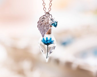 Terrarium Necklace, Sapphire Crystal Dried Blue Flower Necklace, September Birthstone, Glass Bottle necklace, Birthday Gift for Her