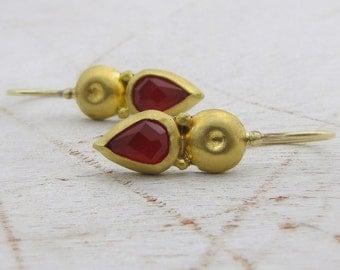 Carnelian Earrings, 24k Gold Earrings with Carnelian Drop, Bridal earrings