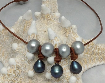 Bangle Necklace  with Blue Baroque  Pearls between Platinum pearls