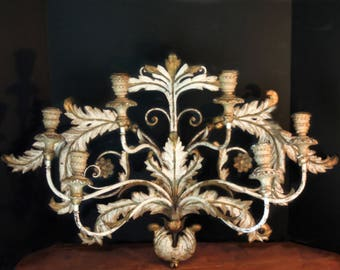 Vintage Italian Florentine Wall Sconce / Candelabra / Gold Gilt / Six Candle Arms