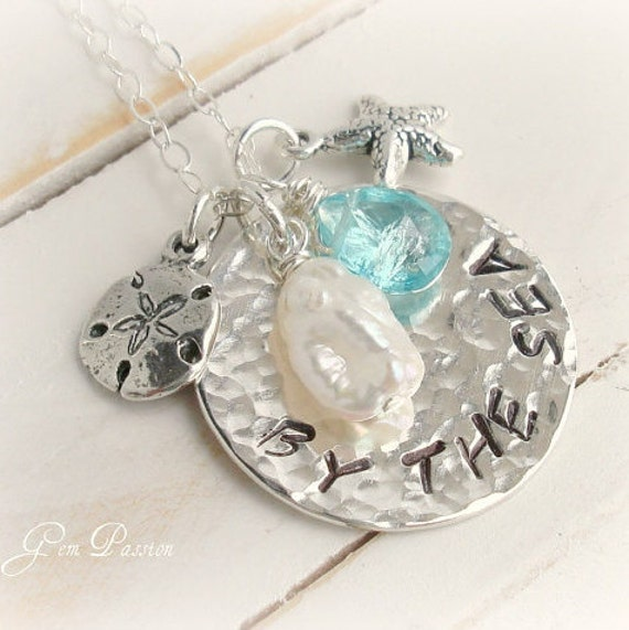Sea Charms Necklace, Sterling Silver, Hammered, Hand Samped,Apatite Gem,White Pearl,Ocean Beach Necklace,Starfish,Sand Dollar,Personalized