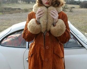 PENNY LANE Vintage 1970's Sheepskin Shearling Sued Leather Jacket Coat Size