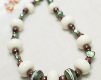 Woodland Tone Necklace with Copper Chain Green Pearls wood and Northwest Lampwork glass Brown Green Cream Colors with Copper Wire Series 7