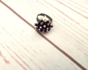 Vintage Statement Ring - Vintage Pewter Ring - Atomic Ring - Spikey Ring - Vintage Jewellery