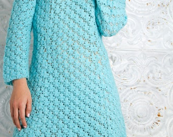 Vintage 60s CROCHET Dress Mod Retro Powder Blue // Vintage Clothing by TatiTati Style on Etsy