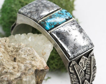 SALE! Natural Morenci Turquoise Inlay Cuff. Dendritic Native Silver Bracelet. Silver Feather Cuff. Handmade Feather Jewelry. Southwestern Cu