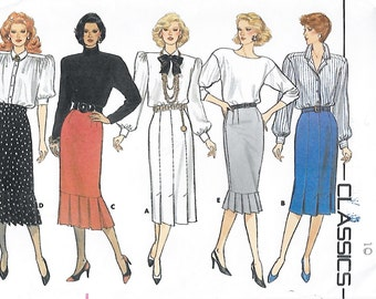 Butterick 4253 Misses' 80s Semi-Fitted Flounce or Pleated Skirt Sewing Pattern Size 10 Waist 25 Hip 34 1/2
