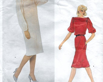 Vogue 2747 American Designer Geoffrey Beene Misses 80s Dress Sewing Pattern Size 16 Bust 38