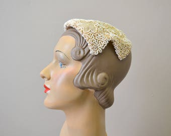 1930s Evelyn Varon White Beaded Hat
